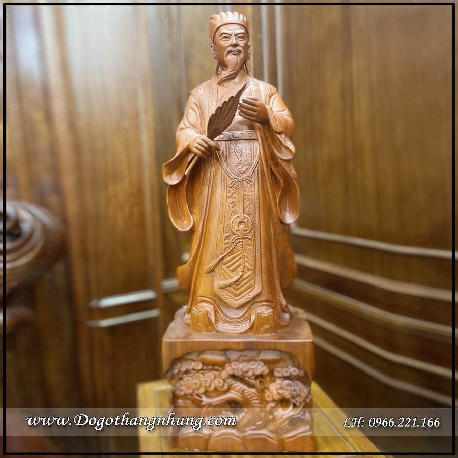 Tượng Khổng Minh Gia Cát Lượng gỗ hương có kích thước 80cm
