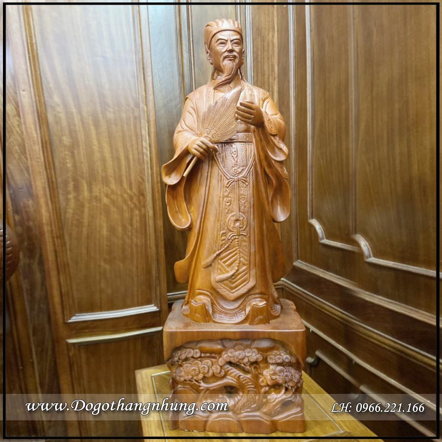 Tượng Khổng Minh Gia Cát Lương gỗ hương